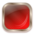 square glass metal button red