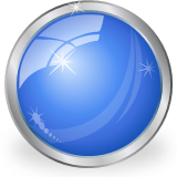 glass shiny blue ball icon
