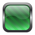 square glass metal button green