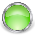 round glass metal button green